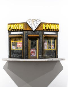 """Diamond Pawn"", Miniature, Architecture, Building, Cityscape, Sculpture"