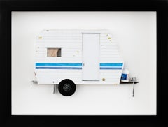 """FAR OUT"", Miniature, white and blue trailer van, paper sculpture"