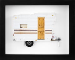 """GO AWAY"", Miniature, camping trailer van, paper sculpture"