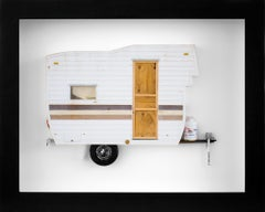 """GO AWAY"", Miniature, camping trailer van, paper sculpture"