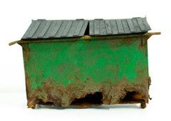"""""""Green Dumpster"""", Miniature paper sculpture"""