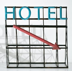 """Hotel (Blue/Red)"", Miniature, Architecture, Sign, Cityscape, Sculpture"