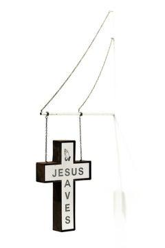 """Jesus Saves (hanging sign blue)"", Miniature wall-hanging sculpture"