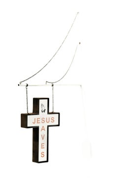 """Jesus Saves (hanging sign red)"", Miniature wall-hanging paper sculpture"