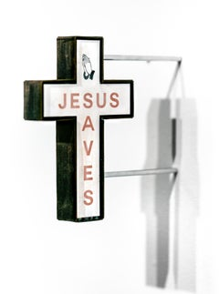 """Jesus Saves (red)"", Miniature wall-hanging paper sculpture"