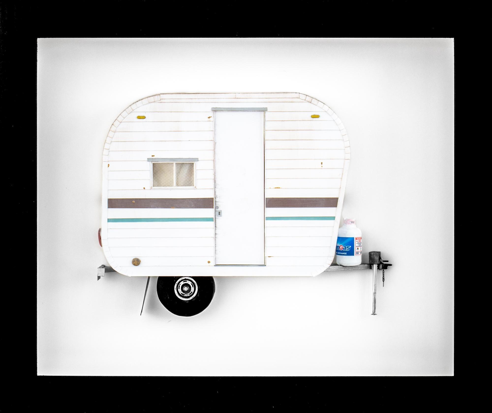 """MY WILLY"", Miniature, camping trailer van, paper sculpture"