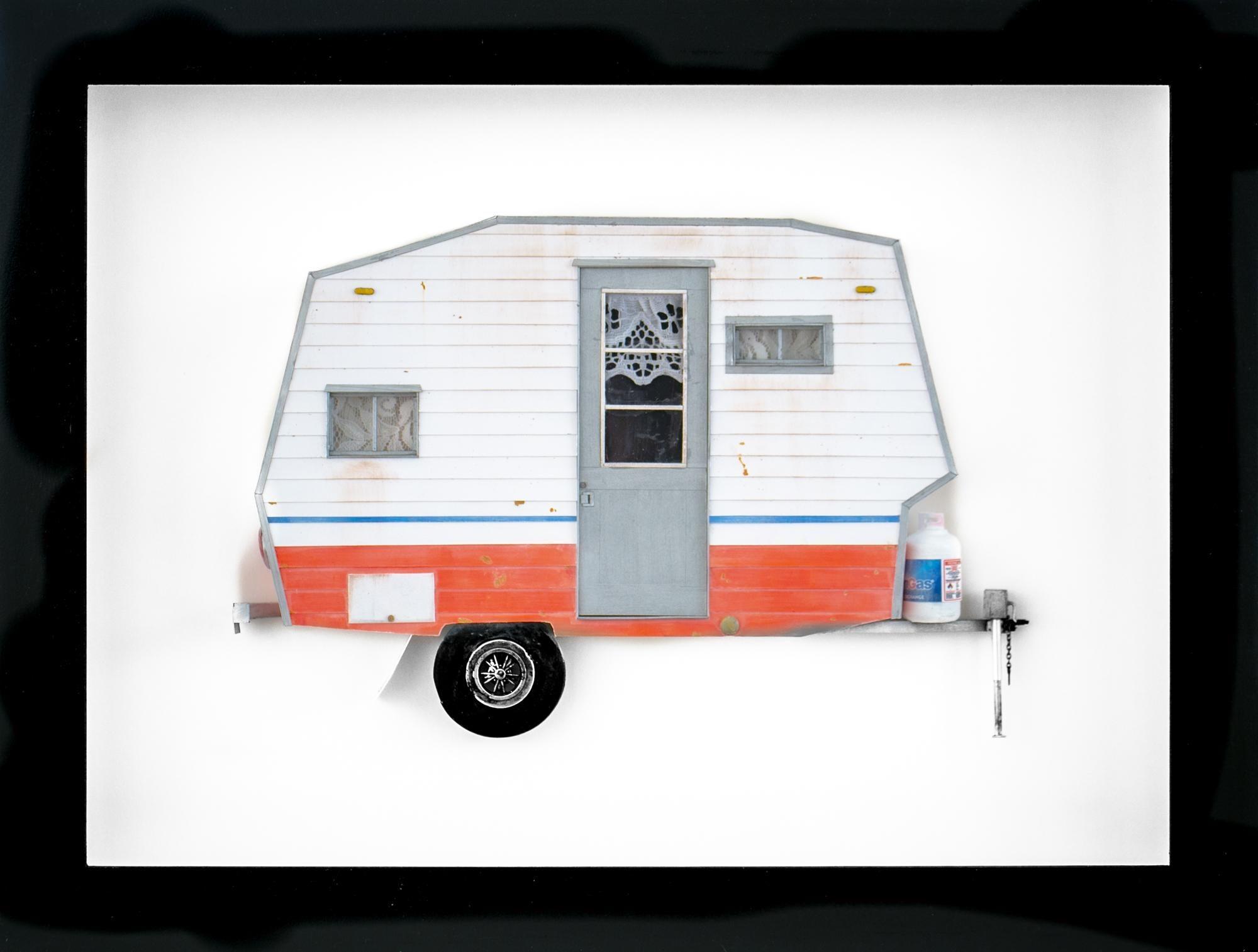 """OVER IT"", Miniature, camping trailer van, paper sculpture"