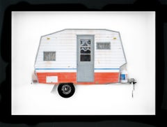 """OVER IT"", Miniature, camping trailer van, paper sculpture"