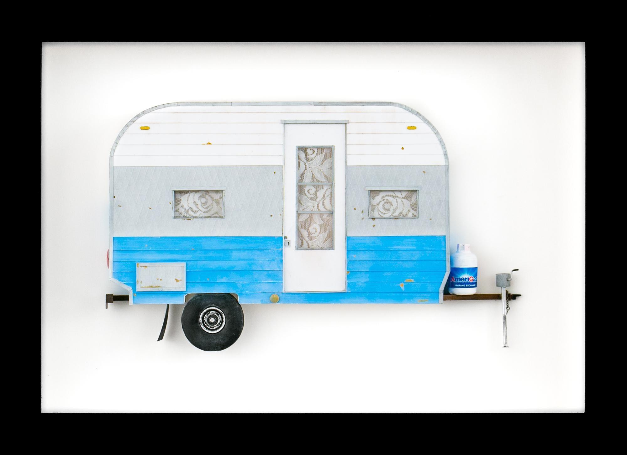 """PUPPIES"", Miniature, camping trailer van, paper sculpture, blue, grey, white"
