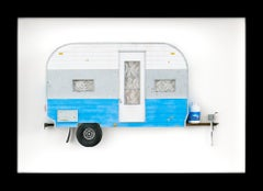 """PUPPIES"", Miniature, camping trailer van, paper sculpture"