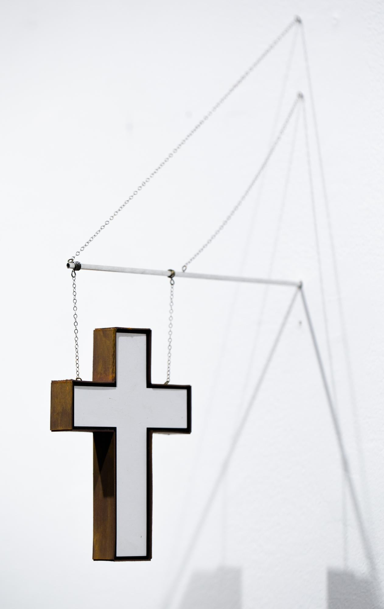 """""""White Cross"""", Miniature, Wall-Hanging Sculpture, Architecture, Sign"""