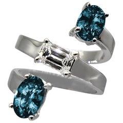 Drew Pietrafesa White Gold Diamond and London Blue Topaz Snake Ring
