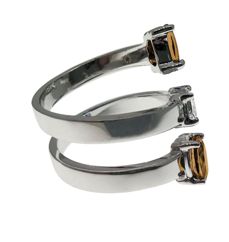 Contemporary Drew Pietrafesa White Gold Diamond and Smoky Quartz Snake Ring For Sale