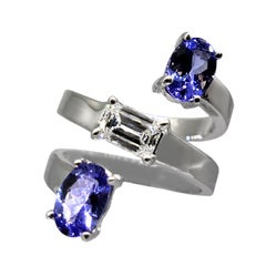 Drew Pietrafesa White Gold Diamond and Tanzanite Snake Ring