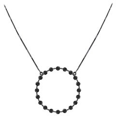Drew Pietrafesa White Gold (Rhodium Finish) Black Diamond Circle Necklace