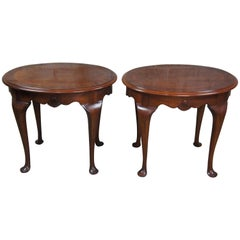 Drexel 18th Century Mahogany Queen Anne Scalloped Oval Accent Tables 138-306