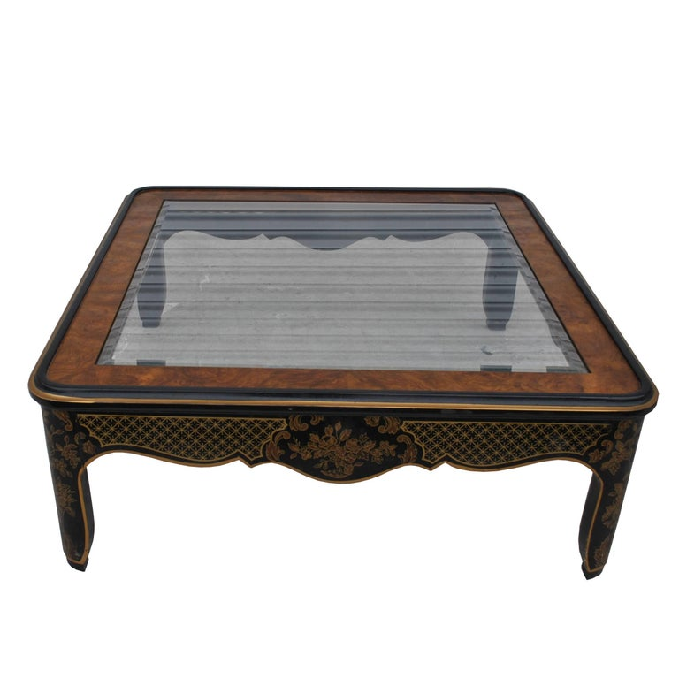 Oriental Glass Top Coffee Table: Drexel Asian Motif Coffee Table For Sale At 1stdibs