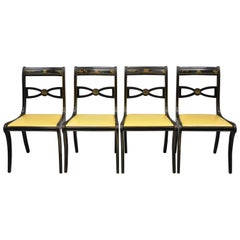 Drexel Black Lacquer Chinoiserie Saber Leg Regency Dining Chairs, Set of 4