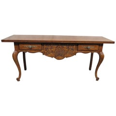 Long Carved French Country Louis XV Sofa or Console Table