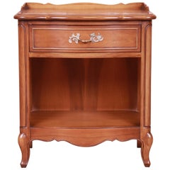 Drexel French Provincial Louis XV Carved Walnut Nightstand, circa 1950s