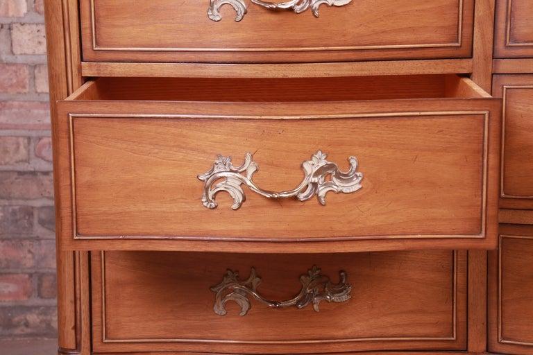 Drexel French Provincial Louis XV Carved Walnut Triple Dresser, circa 1950s 5