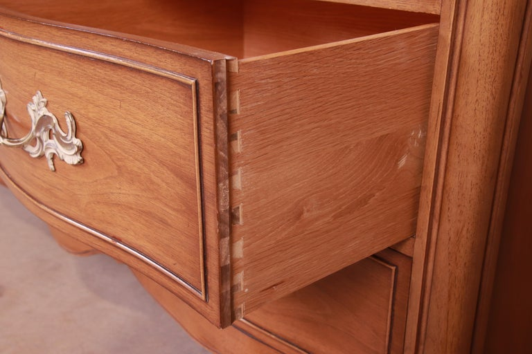 Drexel French Provincial Louis XV Carved Walnut Triple Dresser, circa 1950s 8