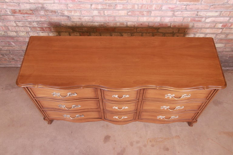 Drexel French Provincial Louis XV Carved Walnut Triple Dresser, circa 1950s 10