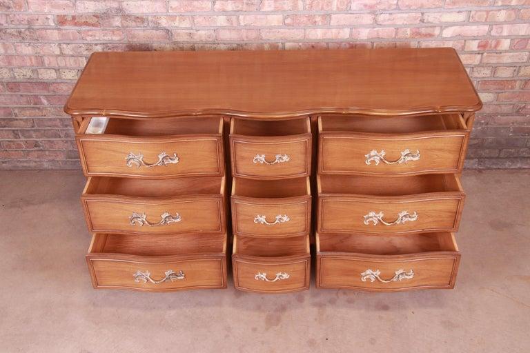 Drexel French Provincial Louis XV Carved Walnut Triple Dresser, circa 1950s 2