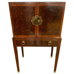 Drexel Furniture Mahogany Inlay Silverware Chest Cabinet on Legs