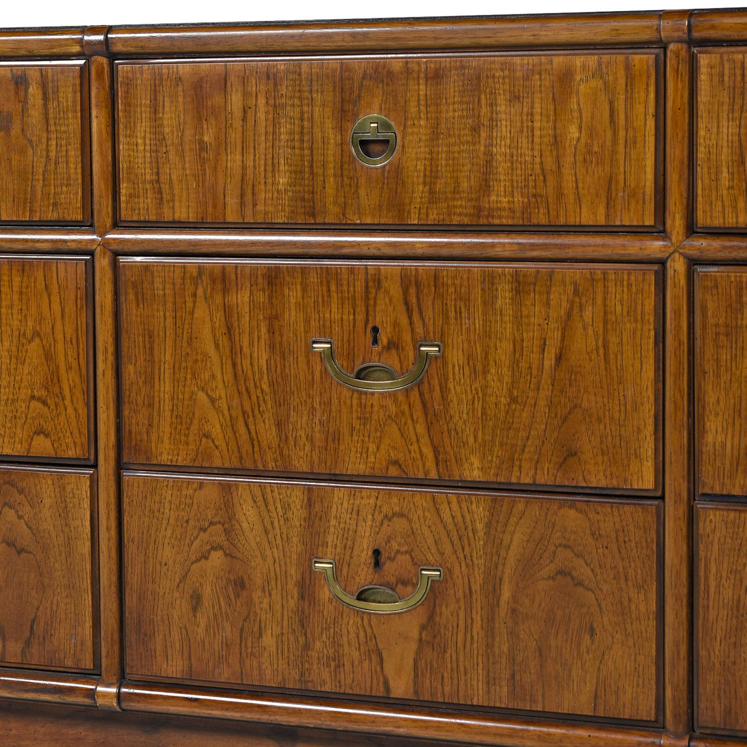 Drexel Heritage Accolade Campaign Style Brass Accent Dresser Chest of  Drawers