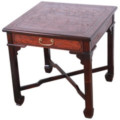 Drexel Heritage Carved Mahogany Hollywood Regency Chinoiserie X-Base Side Table