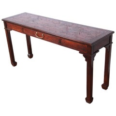 Drexel Heritage Carved Mahogany Hollywood Regency Console or Sofa Table