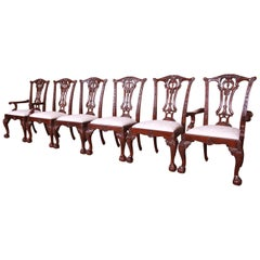 Drexel Heritage Chippendale Carved Mahogany Dining Chairs, Set of Six