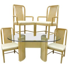 Drexel Heritage Compatibles Blonde Wood Dining Set Table Four Chairs Art Deco