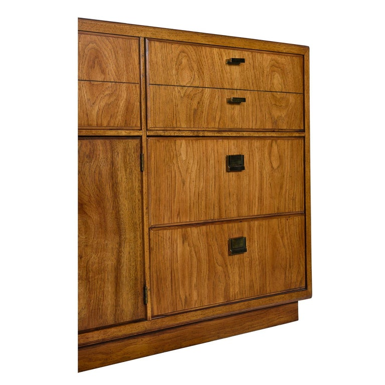 Mid-Century Modern Drexel Heritage Consensus Brass Accent Pecan Dresser, 1970s Campaign Style For Sale