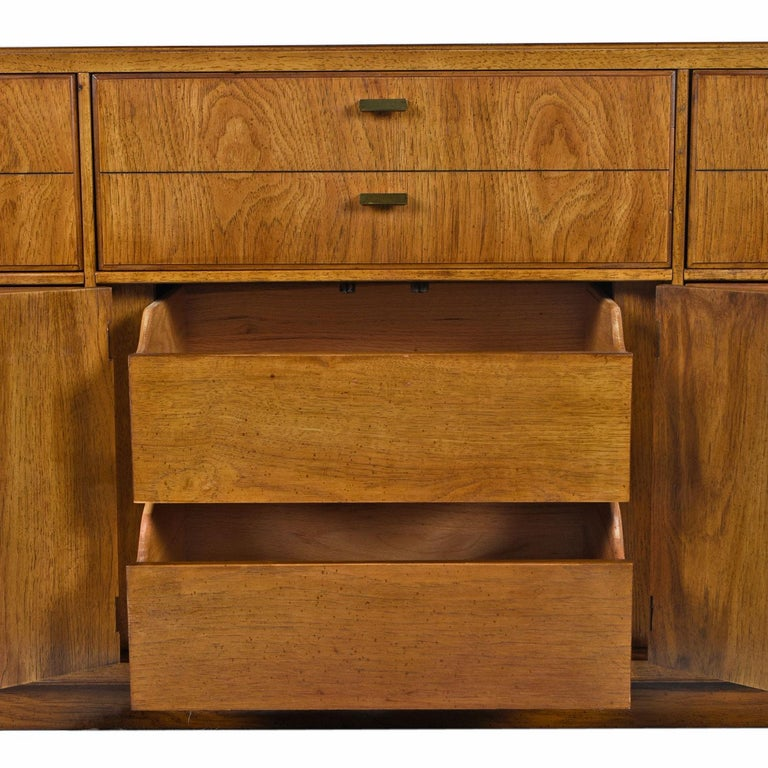 American Drexel Heritage Consensus Brass Accent Pecan Dresser, 1970s Campaign Style For Sale
