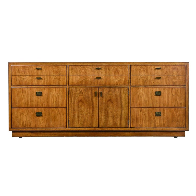 Drexel Heritage Consensus Brass Accent Pecan Dresser, 1970s Campaign Style