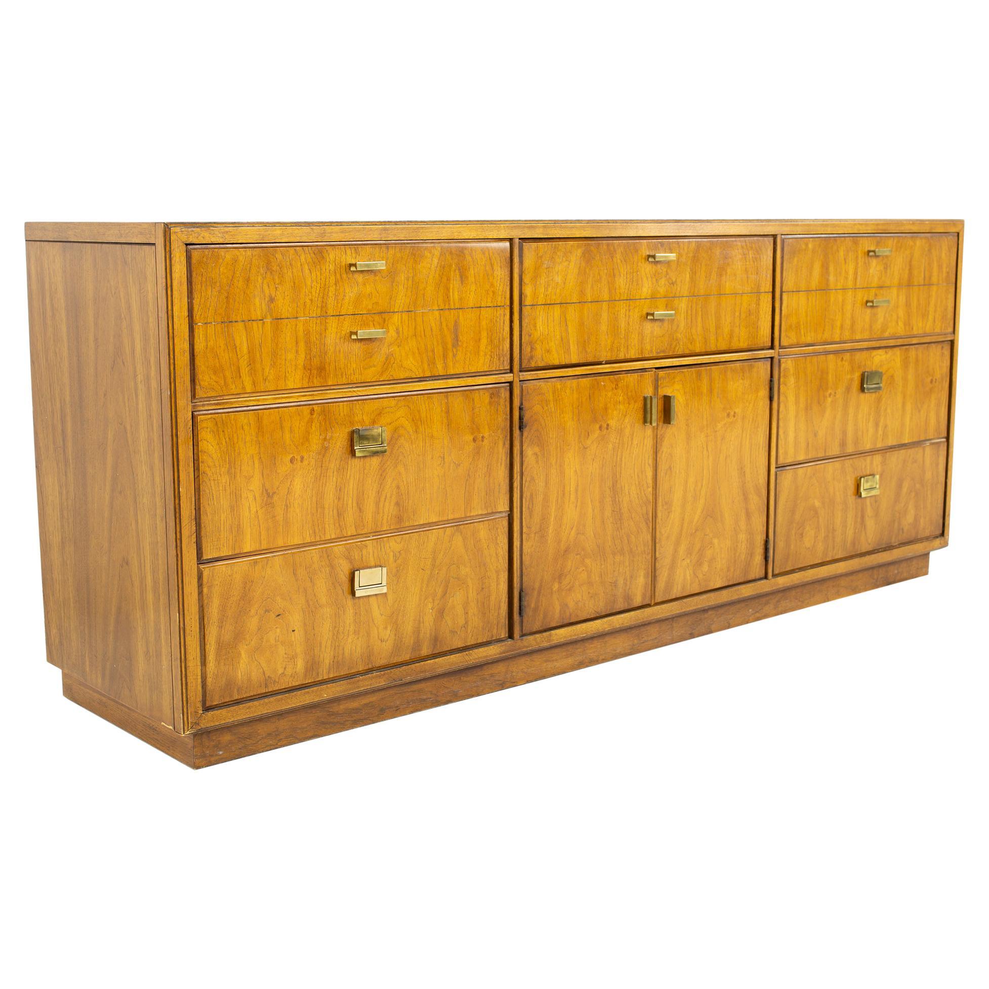 Drexel Heritage Consensus Mid Century Pecan and Brass 9 Drawer Lowboy Dresser