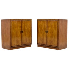 Drexel Heritage Consensus Vintage 1970s Flyspeck Pecan Commode Cabinet