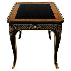 Drexel Heritage ET Cetera Collection Chinoiserie Black & Burl & Ormolu End Table