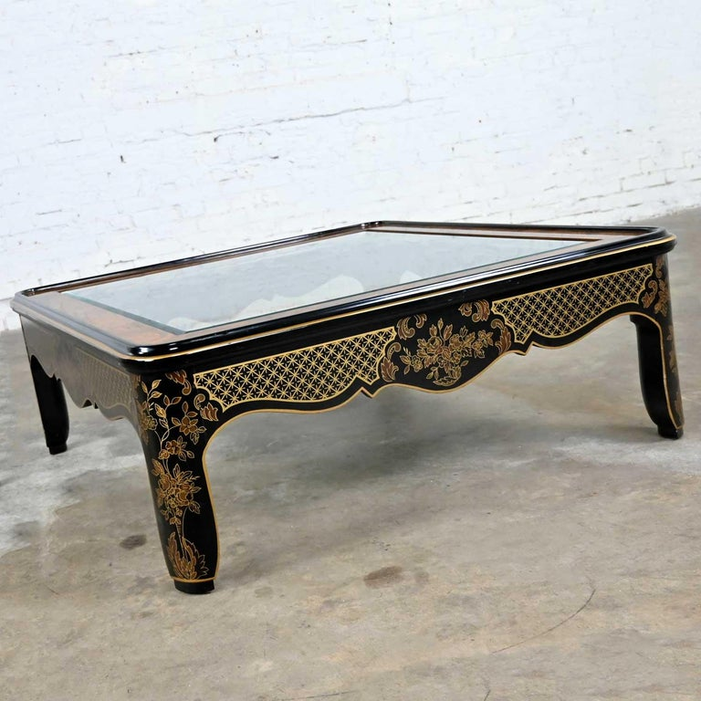 Drexel Heritage ET Cetera Collection Chinoiserie Black Gold Burl Coffee Table For Sale 10
