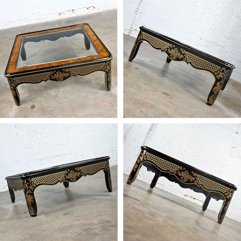 Drexel Heritage ET Cetera Collection Chinoiserie Black Gold Burl Coffee Table For Sale 13