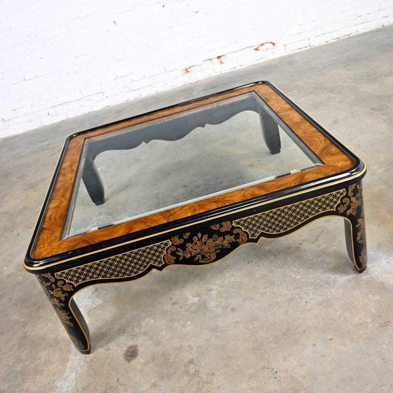 Late 20th Century Drexel Heritage ET Cetera Collection Chinoiserie Black Gold Burl Coffee Table For Sale