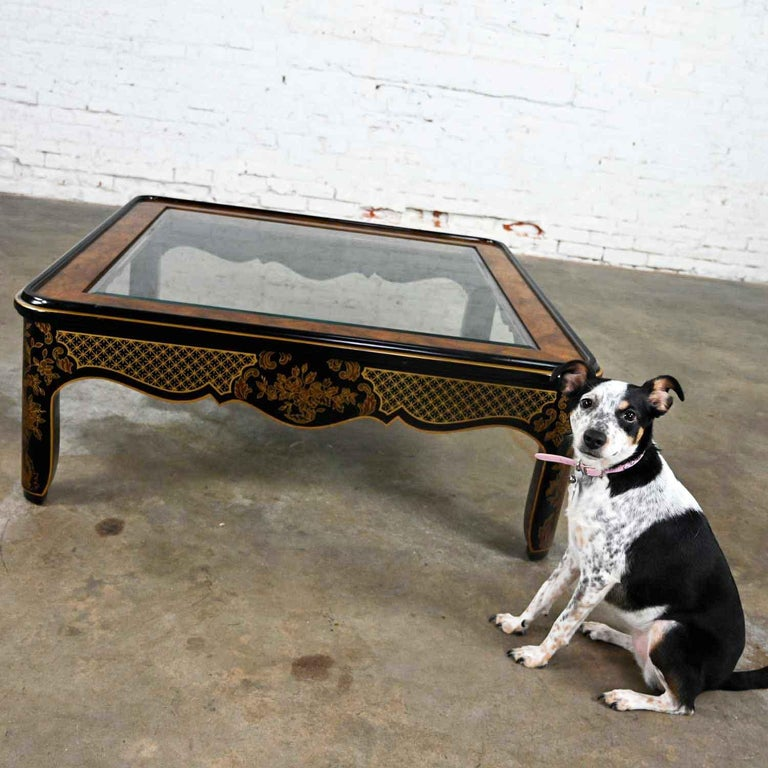 Drexel Heritage ET Cetera Collection Chinoiserie Black Gold Burl Coffee Table For Sale 1