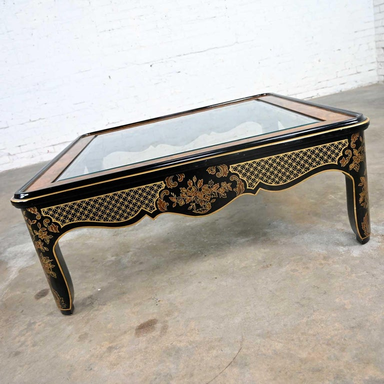 Drexel Heritage ET Cetera Collection Chinoiserie Black Gold Burl Coffee Table For Sale 2