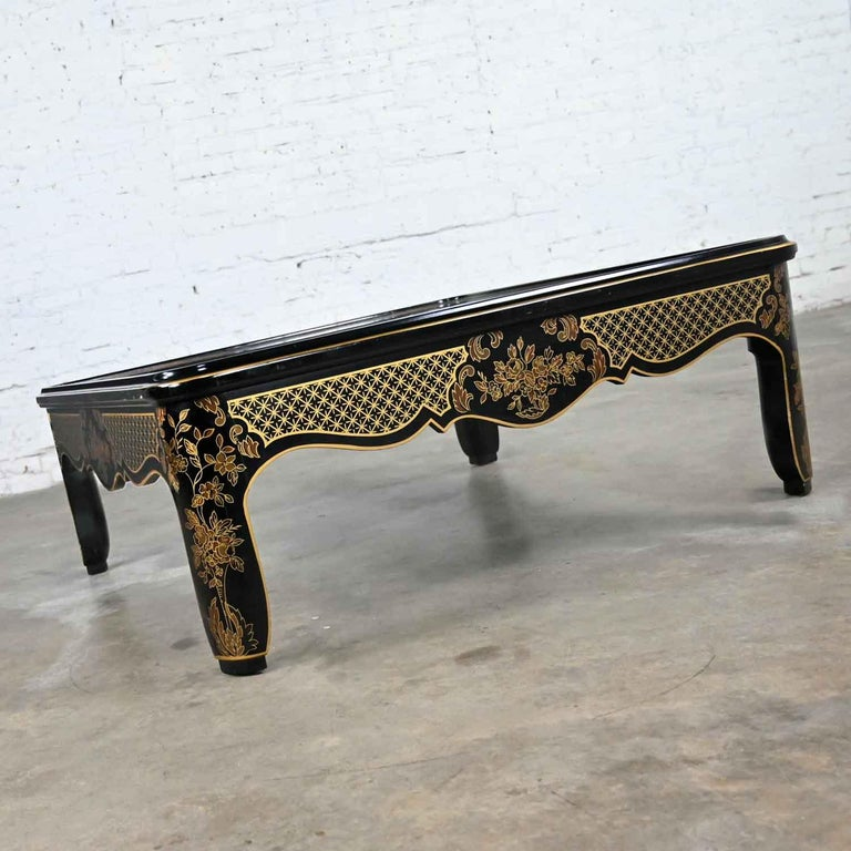 Drexel Heritage ET Cetera Collection Chinoiserie Black Gold Burl Coffee Table For Sale 3