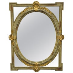 Drexel Heritage European Legacy Green and Gold Distress Painted Mirror 213-210