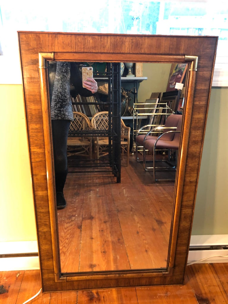 Drexel Heritage Faux Bamboo Mirror with Brass Accents For Sale 5