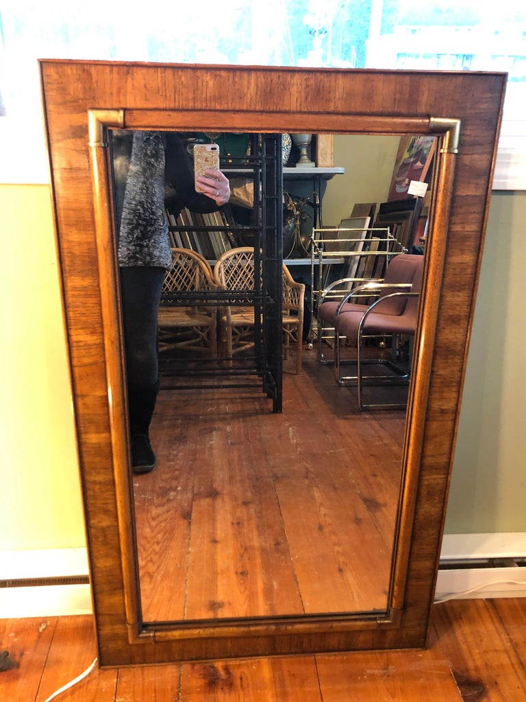 Drexel Heritage Faux Bamboo Mirror with Brass Accents For Sale 6