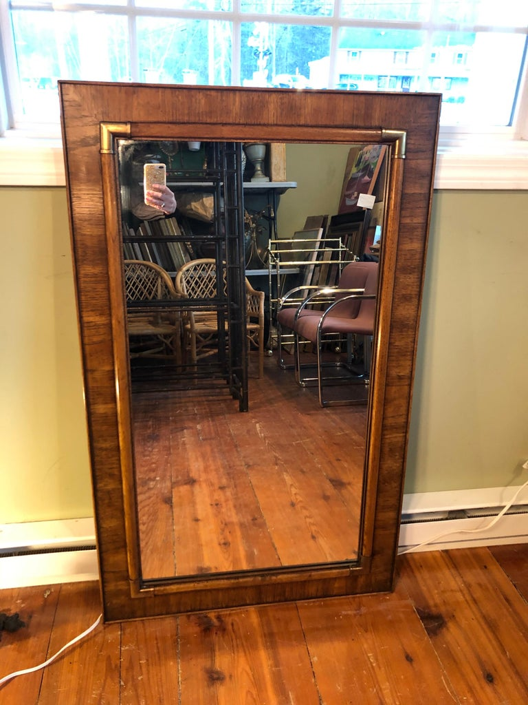 Drexel Heritage faux bamboo mirror with brass accents. Classic 1970s style mirror. Extremely well made , solid piece.